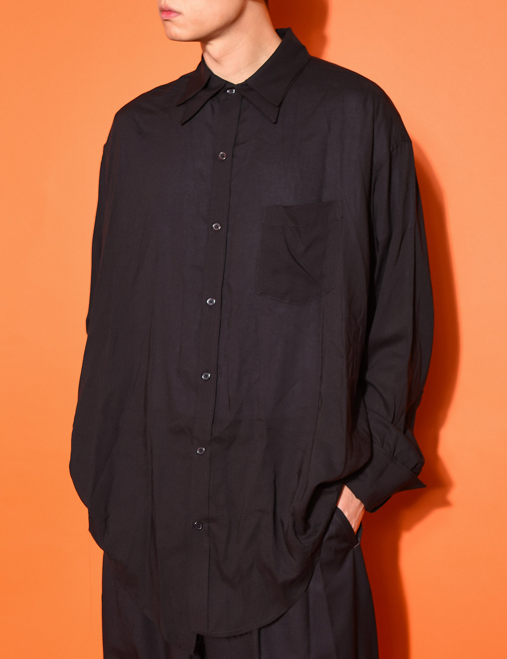 sulvam : DOUBLE COLLAR OVER SHIRTS (BLACK)
