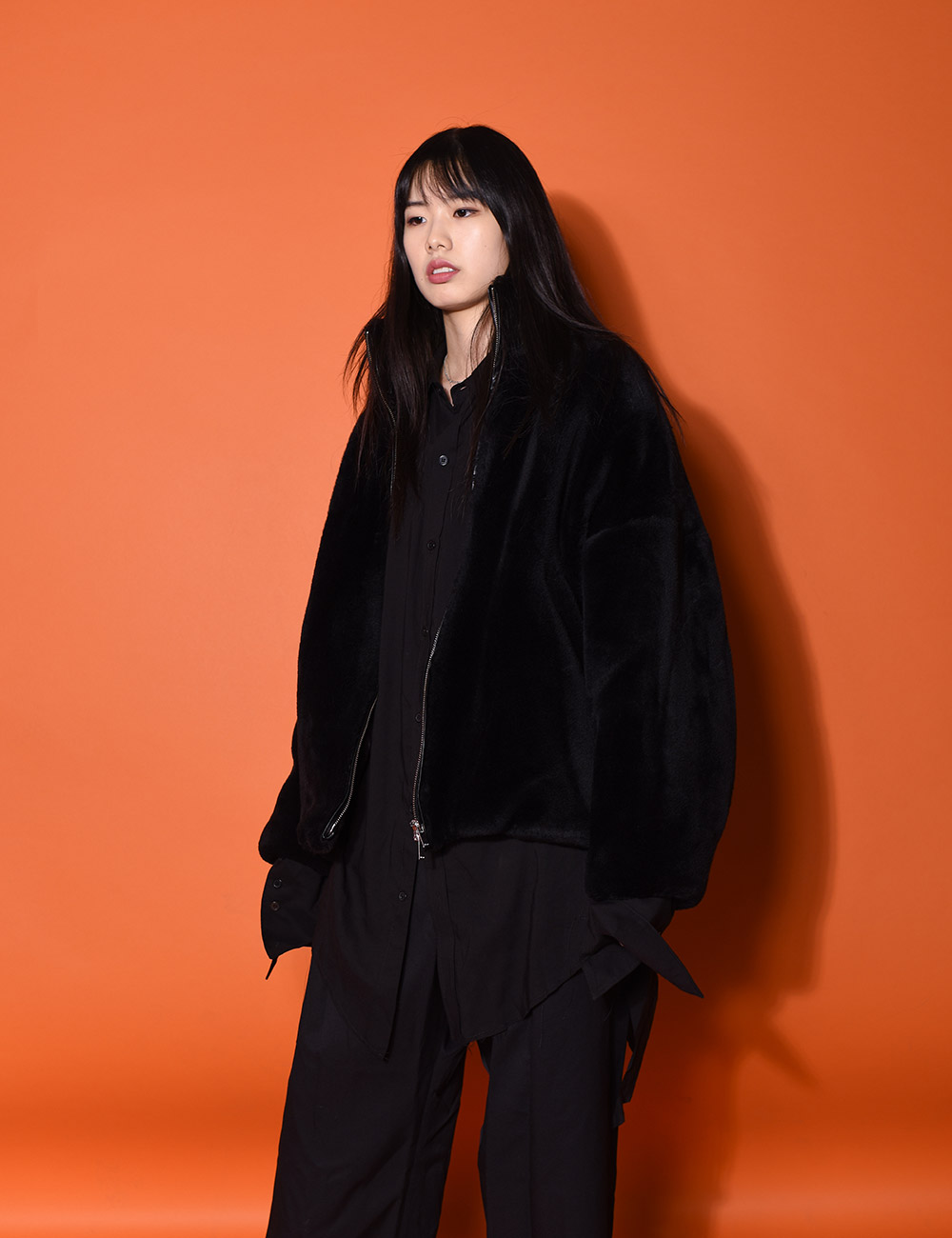 sulvam : FUR JACKET (BLACK)
