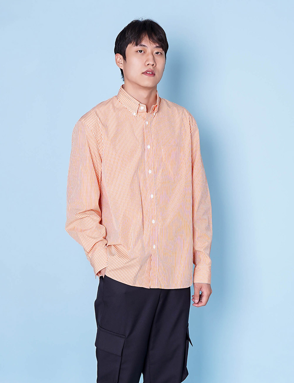 DIGAWEL : GINGHAM SHIRT (ORANGE)