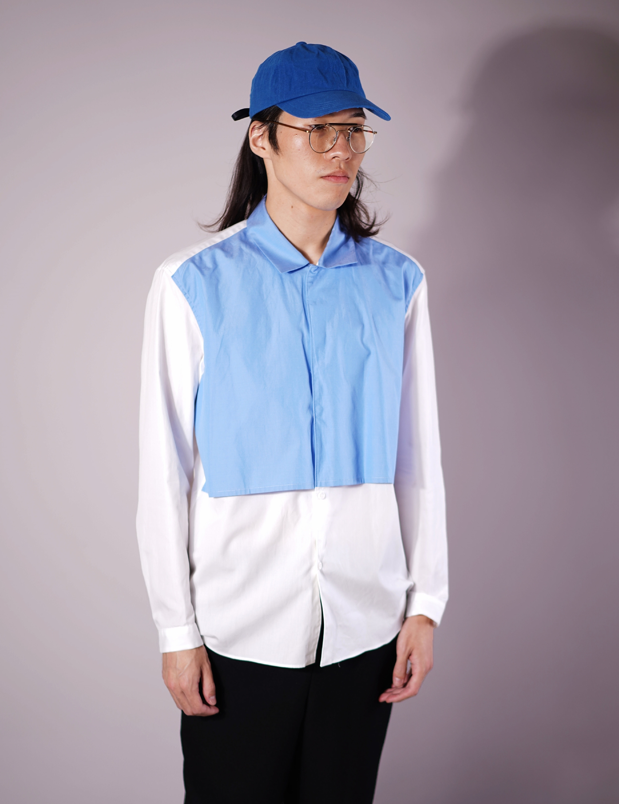 LAYERD SHIRT (WHITE/D.SAX)