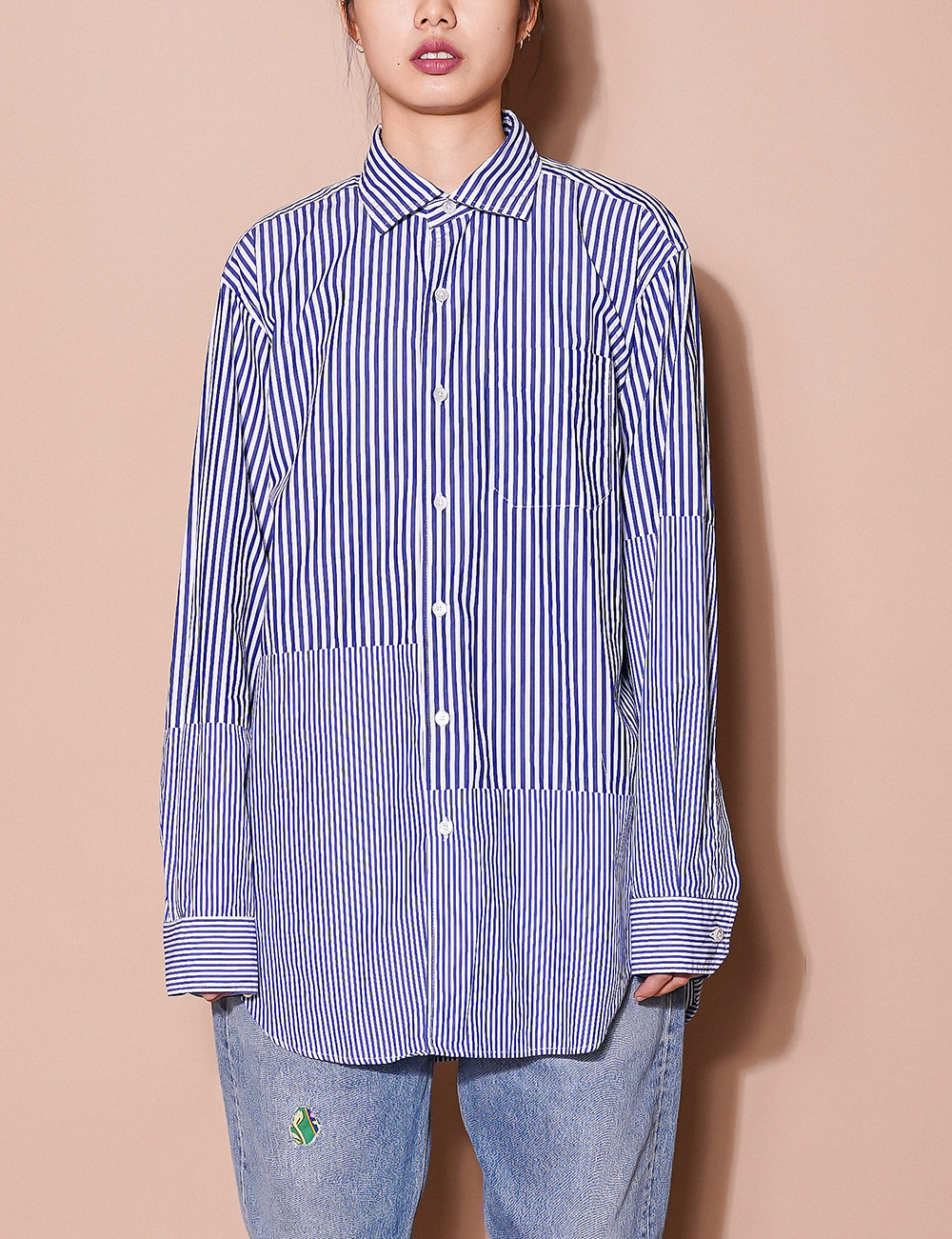 Engineered Garments : SPREAD COLLAR SHIRTS (BLUE/WHITE)