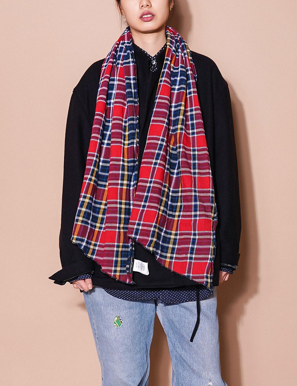 Engineered Garments : LONG SCARF (RED/NAVY)