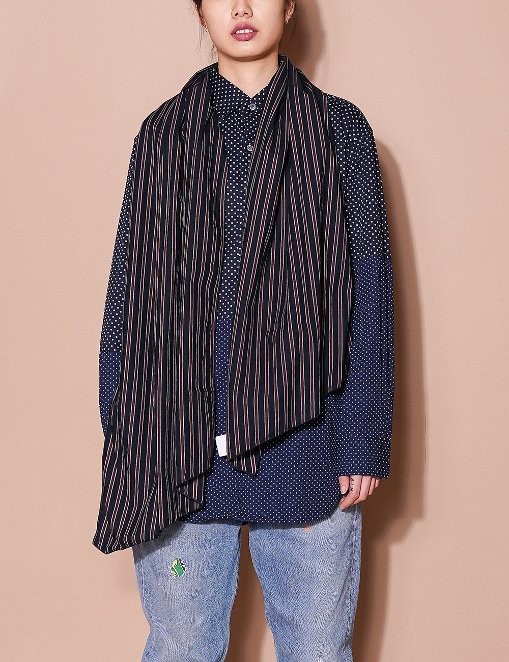 Engineered Garments : LONG SCARF (NAVY/RED/WHITE)