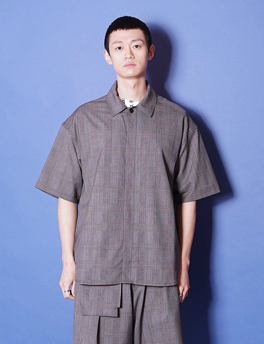 lownn : MINIMAL SHIRT SHORT SLEEVES (GREY CHECK)