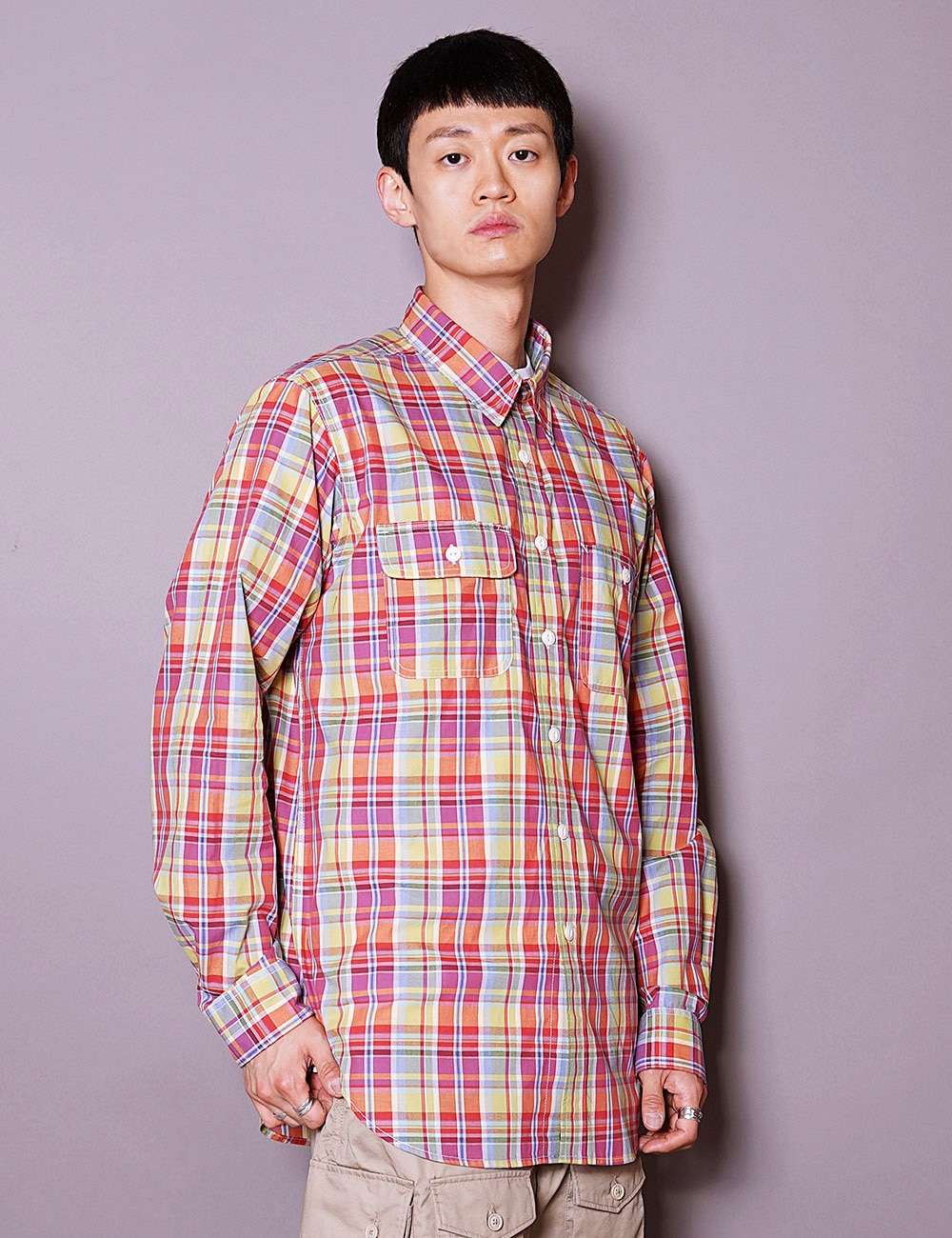 Engineered Garments WORKDAY : UTILITY SHIRT (RED/YELLOW/BLUE)