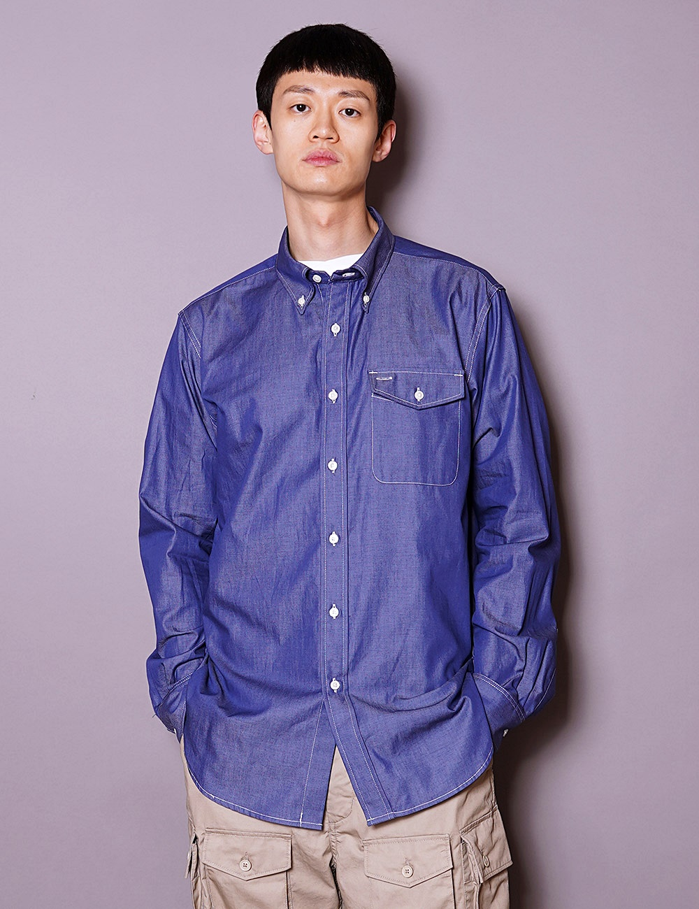 Engineered Garments Workaday : BD SHIRT (DARK BLUE)