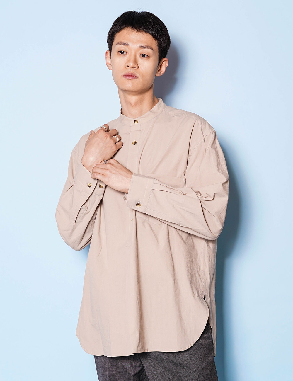 URU : STAND COLLAR L/S SHIRTS (Cotton Pin Weather) (BROWN)