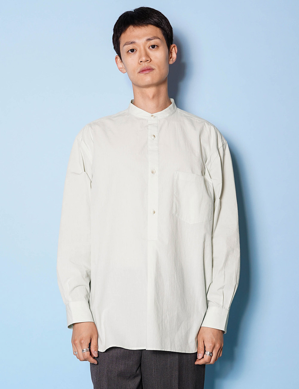 URU : STAND COLLAR L/S SHIRTS (Cotton Pin Weather) (L.MINT)