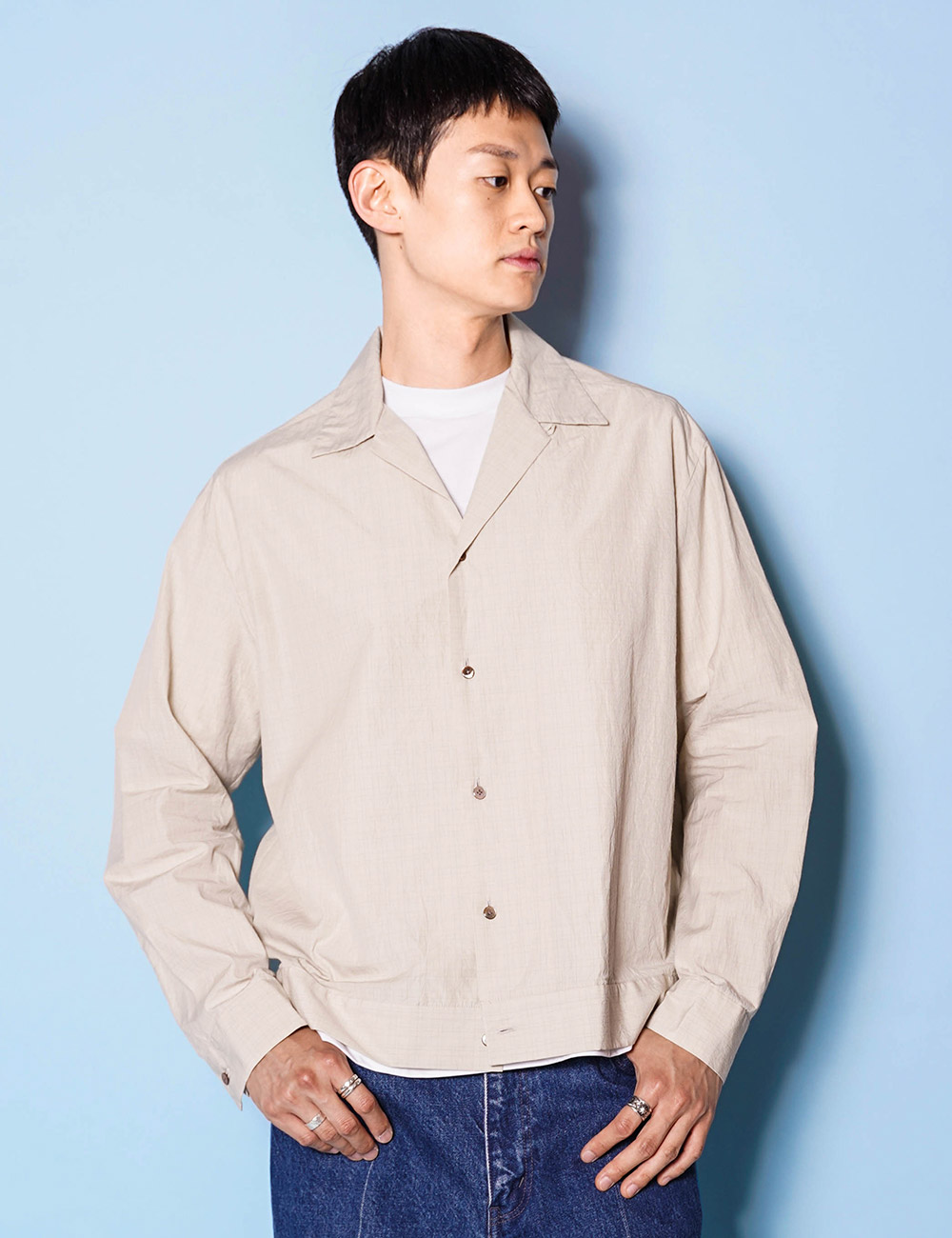 URU : OPEN COLLAR L/S SHIRT (Cotton Silk Weather) (BEIGE)