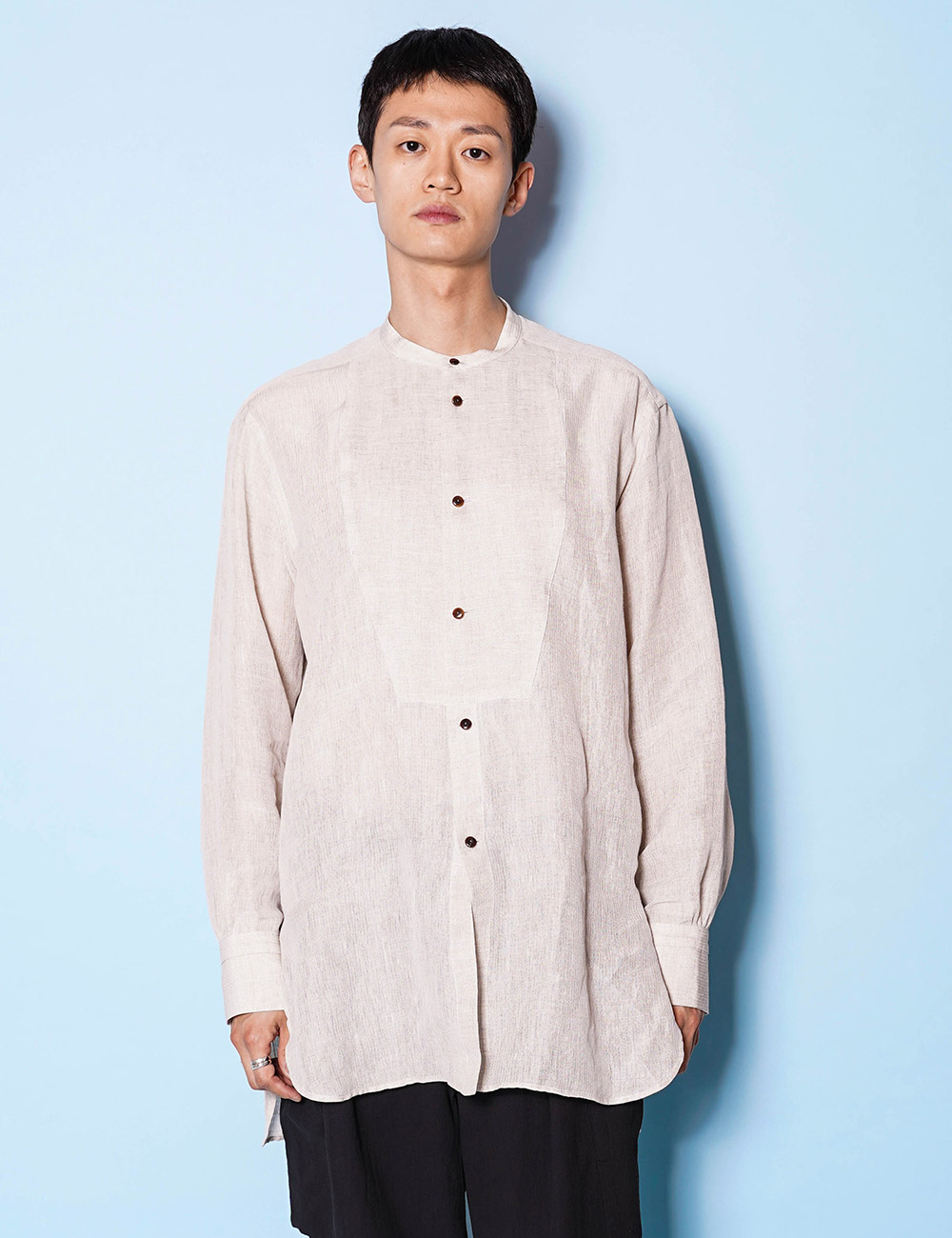 URU : STAND COLLAR L/S SHIRTS (Linen Silk Gauze) (NATURAL)