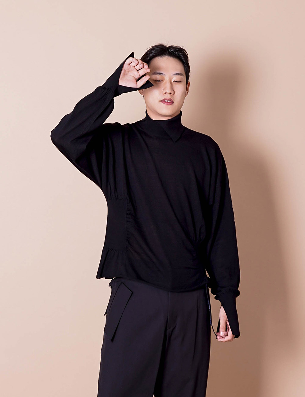 sulvam : HIGH NECK RIB KNIT (BLACK)