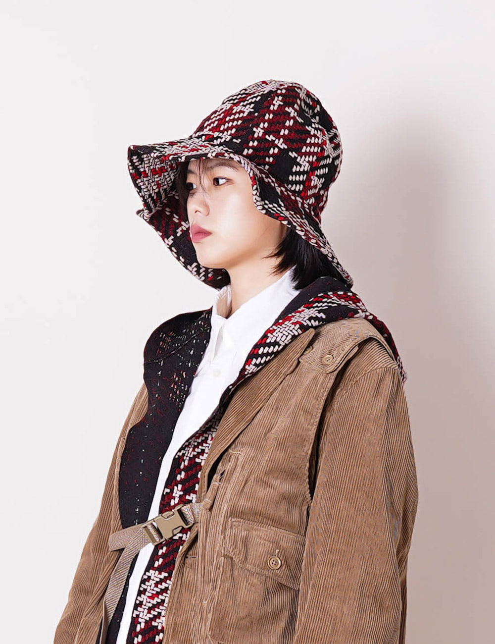 Engineered Garments : DOME HAT (BLACK/RED)