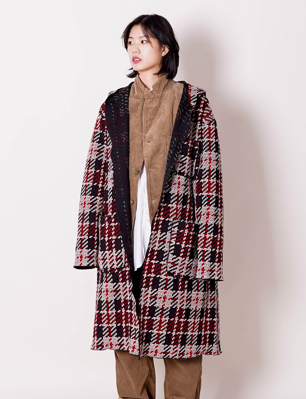Engineered Garments : KNIT ROBE (BLACK/RED)