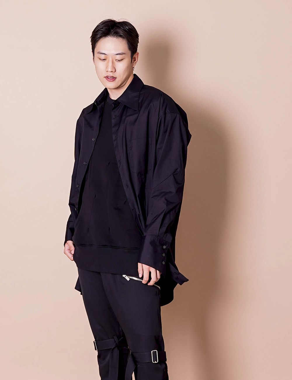 sulvam : BROAD OVER SHIRT (BLACK)
