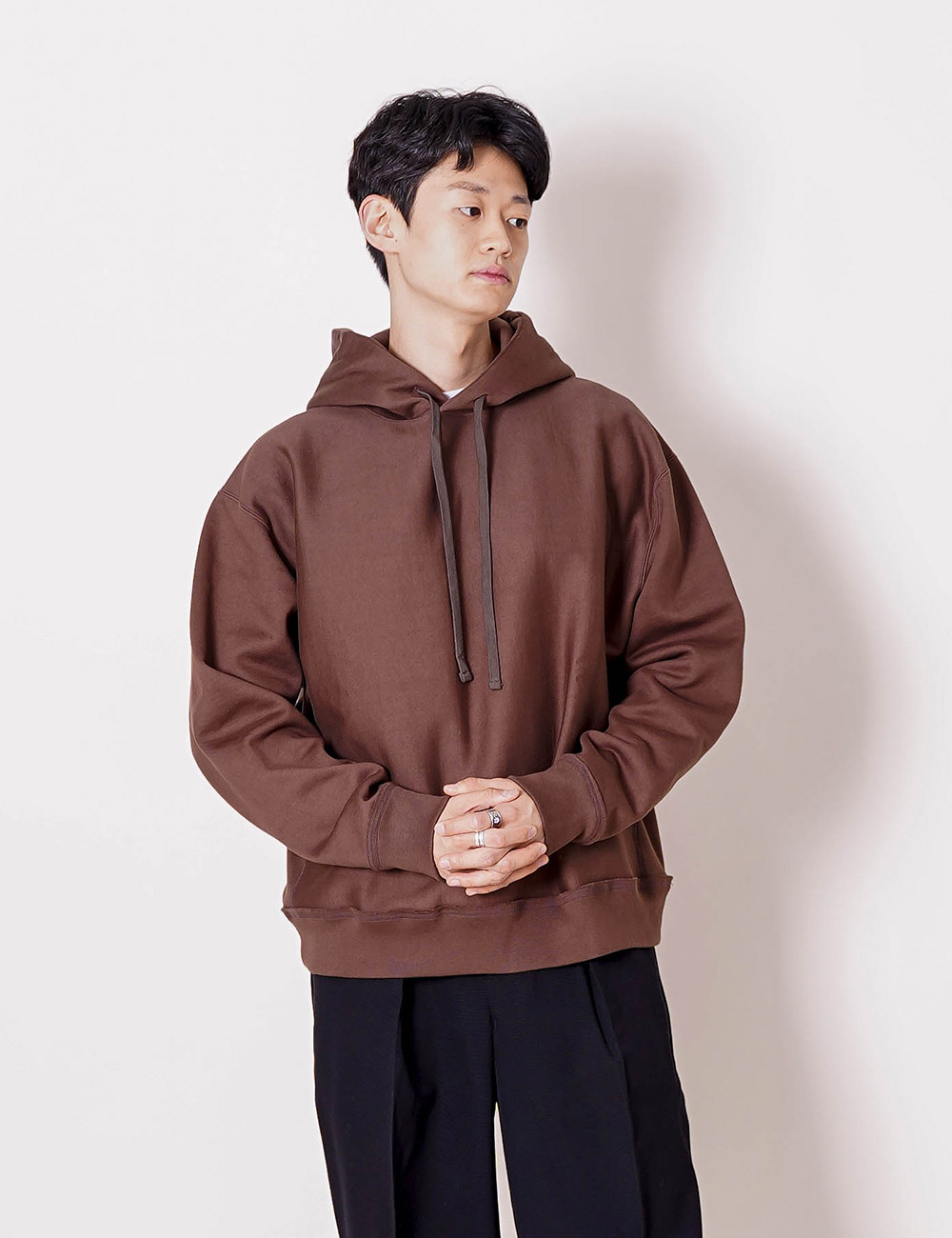 MARKAWARE : ORGANIC COTTON HEAVY SWITTZER REVERSE FLEECE HUGE PARKA (BROWN)