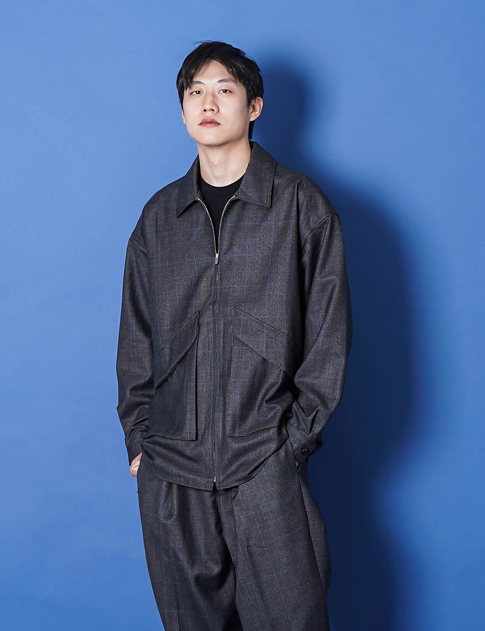 lownn : ZIP SHIRT (DARK GREY CHECK)
