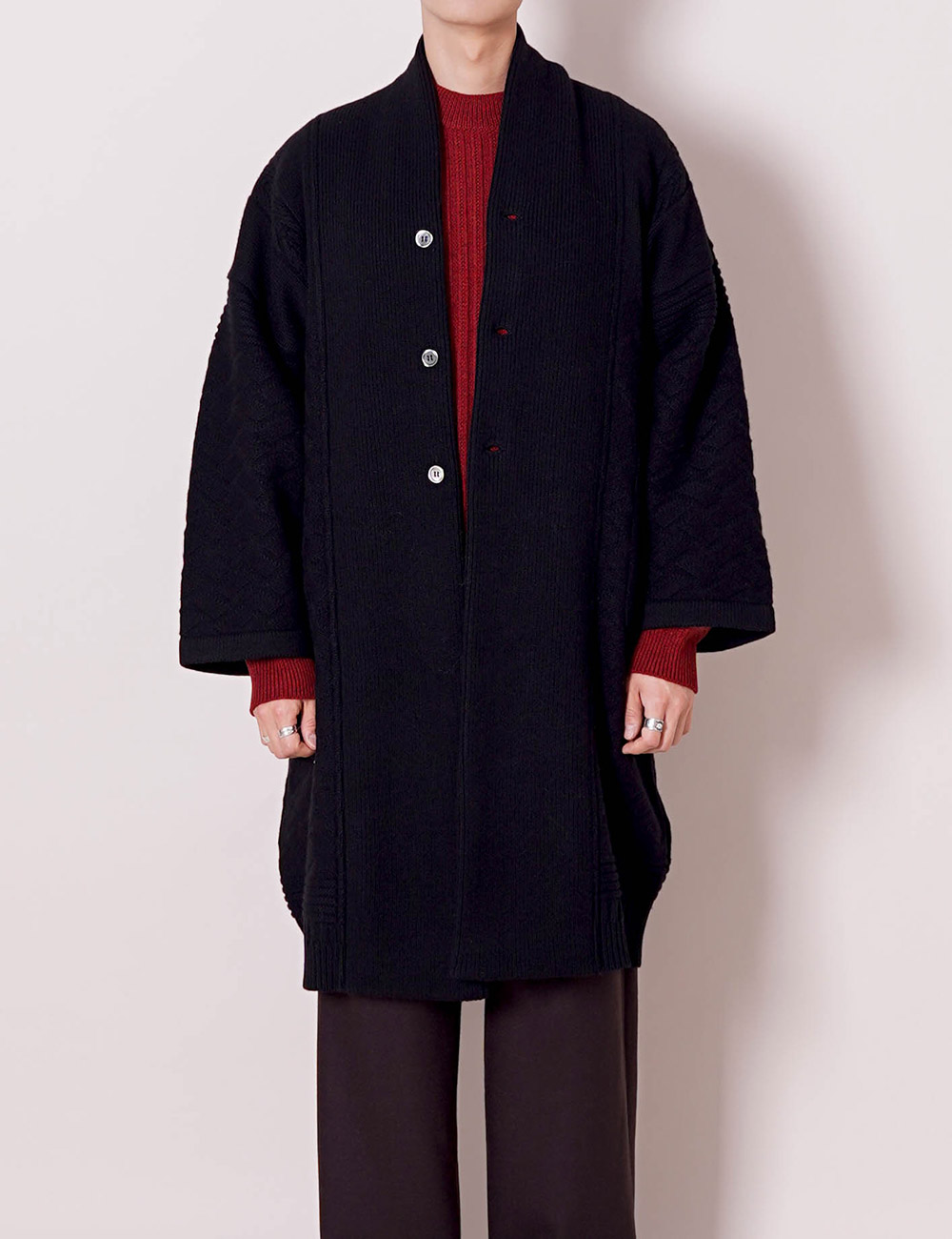 YASHIKI : BOTAYUKI KNIT COAT (BLACK)