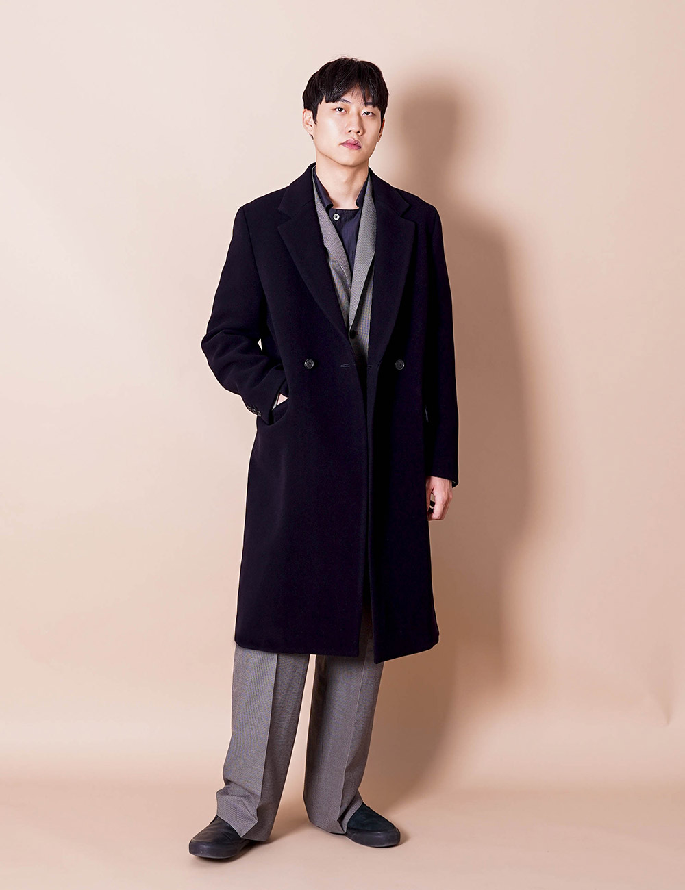 URU : MELTON WOOL CHESTERFIELD COAT (NAVY)