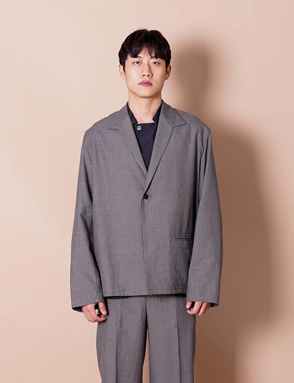 URU : ONE BUTTON SHIRT JACKET (B.GRAY)