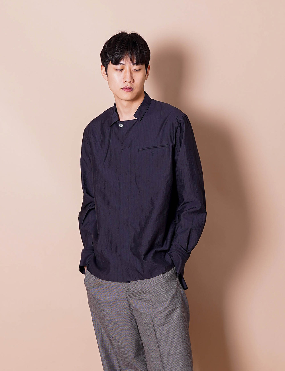 URU : FLY FRONT L/S SHIRT (BLACK)