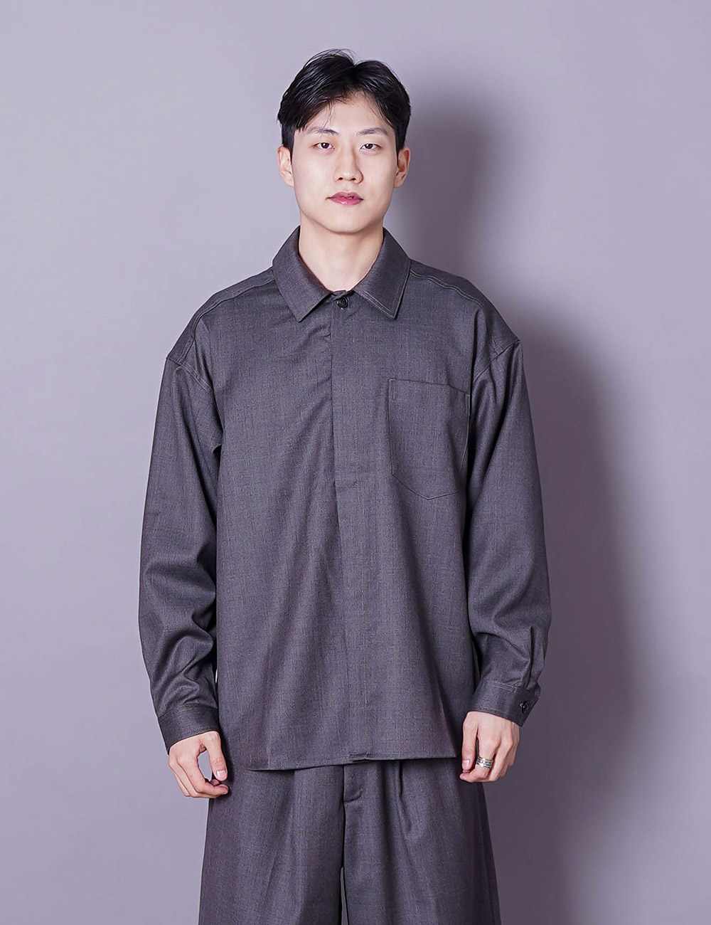 lownn : MINIMAL SHIRT ML (ICE BROWN)
