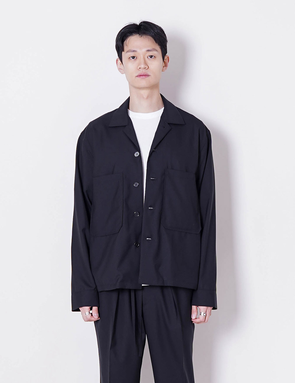 MARKAWARE : SUPER 120'S WOOL TROPICAL UTILITY SHIRT (BLACK)
