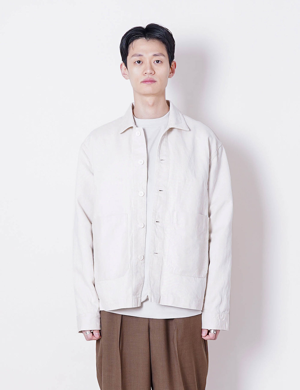 MARKAWARE : HEMP/ORGANIC COTTON DRILL WORK JACKET (WHITE)