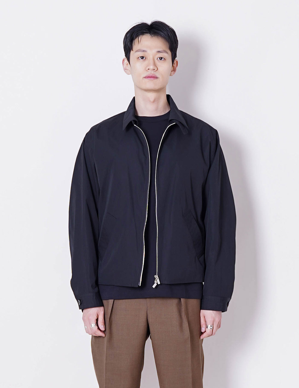 MARKAWARE : BIODYNAMIE GIZA / SILK TYPE WRITER SHORT JACKET (BLACK)