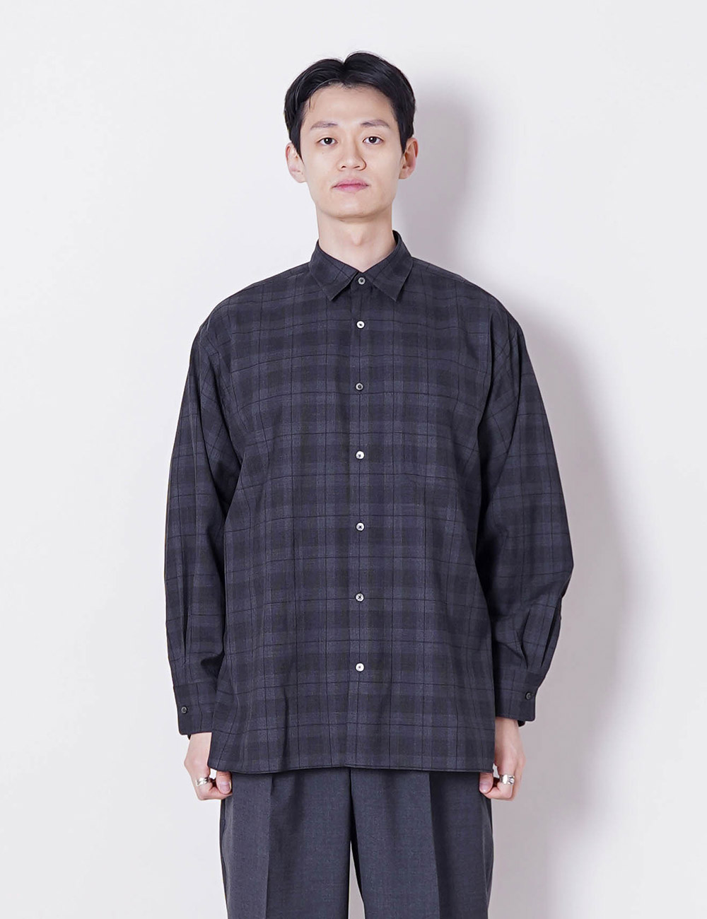 MARKAWARE : SUPER 120's WOOL TROPICAL COMFORT FIT SHIRTS (CHARCOAL CHECK)