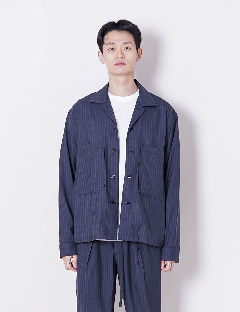 MARKAWARE : SUPER 120'S WOOL TROPICAL UTILITY SHIRT (INDIGO STRIPE)