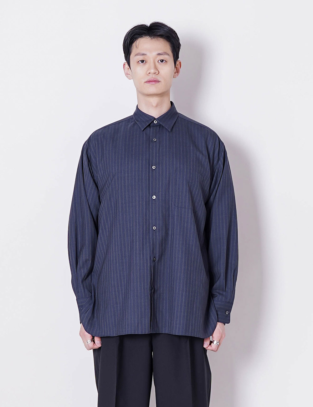 MARKAWARE : SUPER 120's WOOL TROPICAL COMFORT FIT SHIRTS (INDIGO STRIPE)