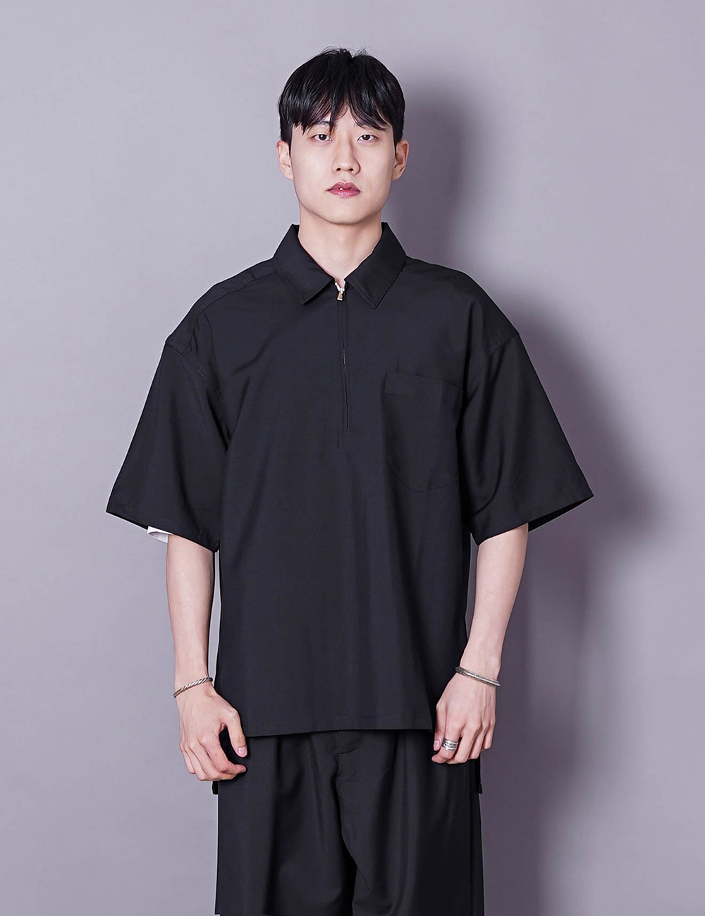lownn : POLO ZIP SHIRT (BLACK)