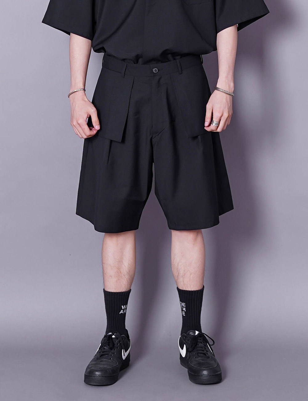 lownn : LAYERED SHORTS (BLACK)