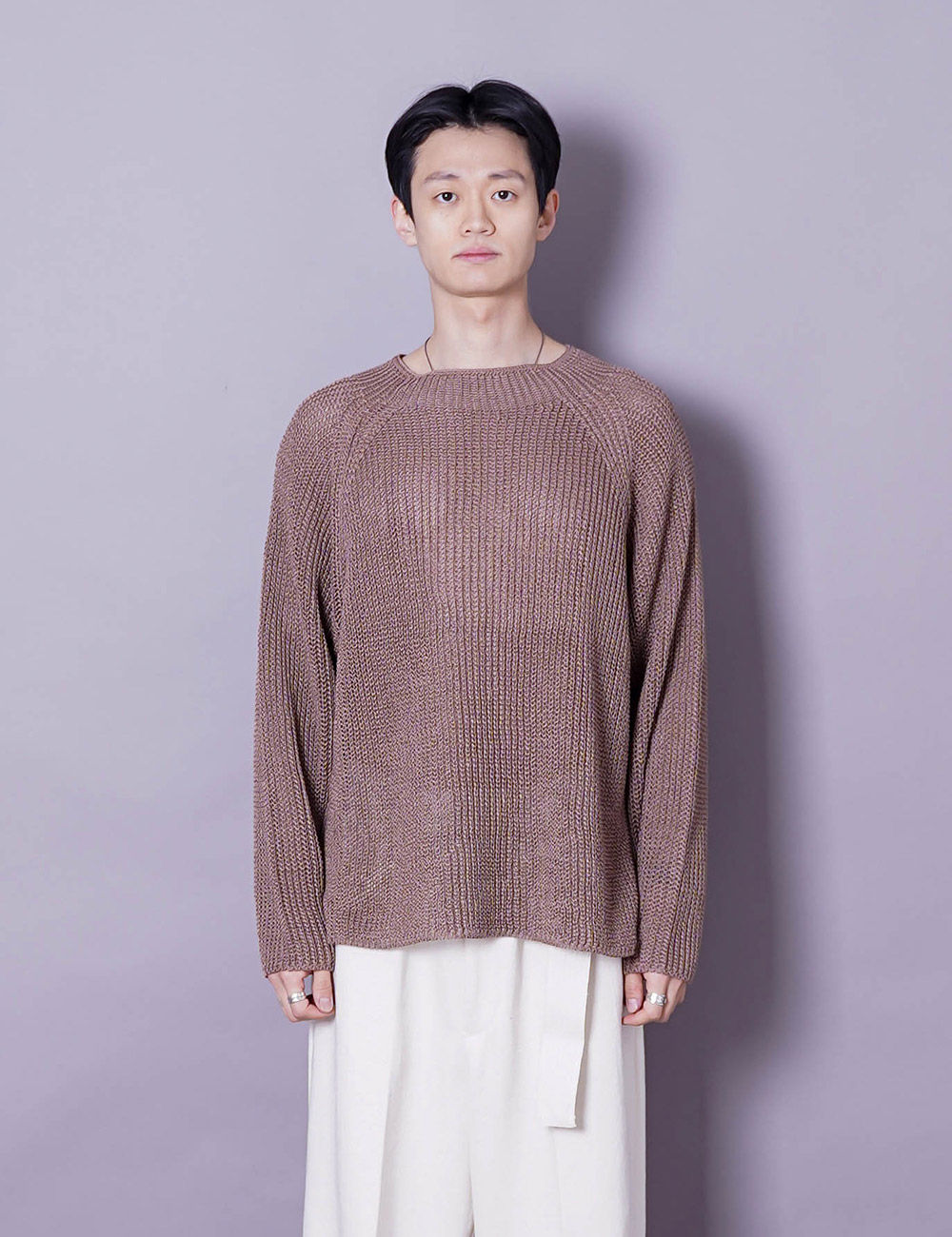 URU : CREW NECK OVER KNIT (BROWN COTTON STRAW YARN)