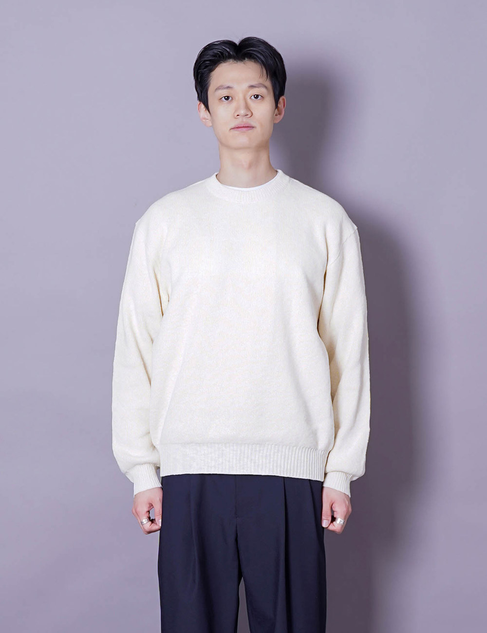 URU : CREW NECK OVER KNIT (IVORY COTTON SLAB)