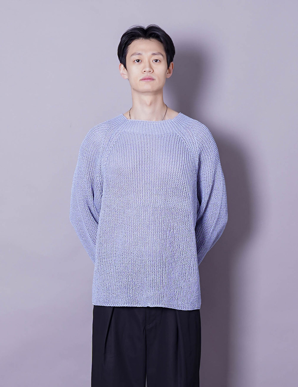 URU : CREW NECK OVER KNIT (SAX COTTON STRAW YARN)