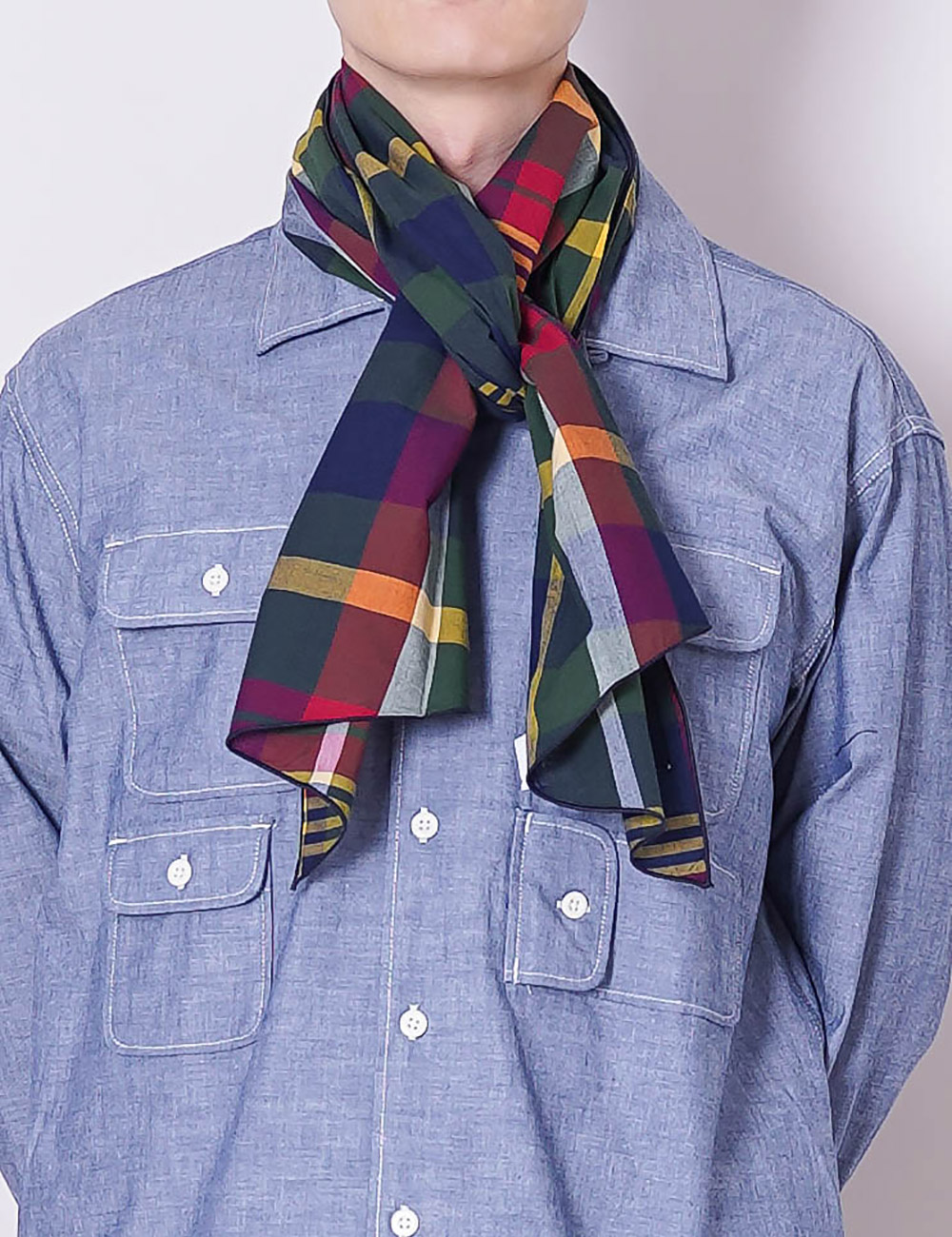 Engineered Garments : LONG SCARF (GREEN/NAVY COTTON BIG MADRAS)