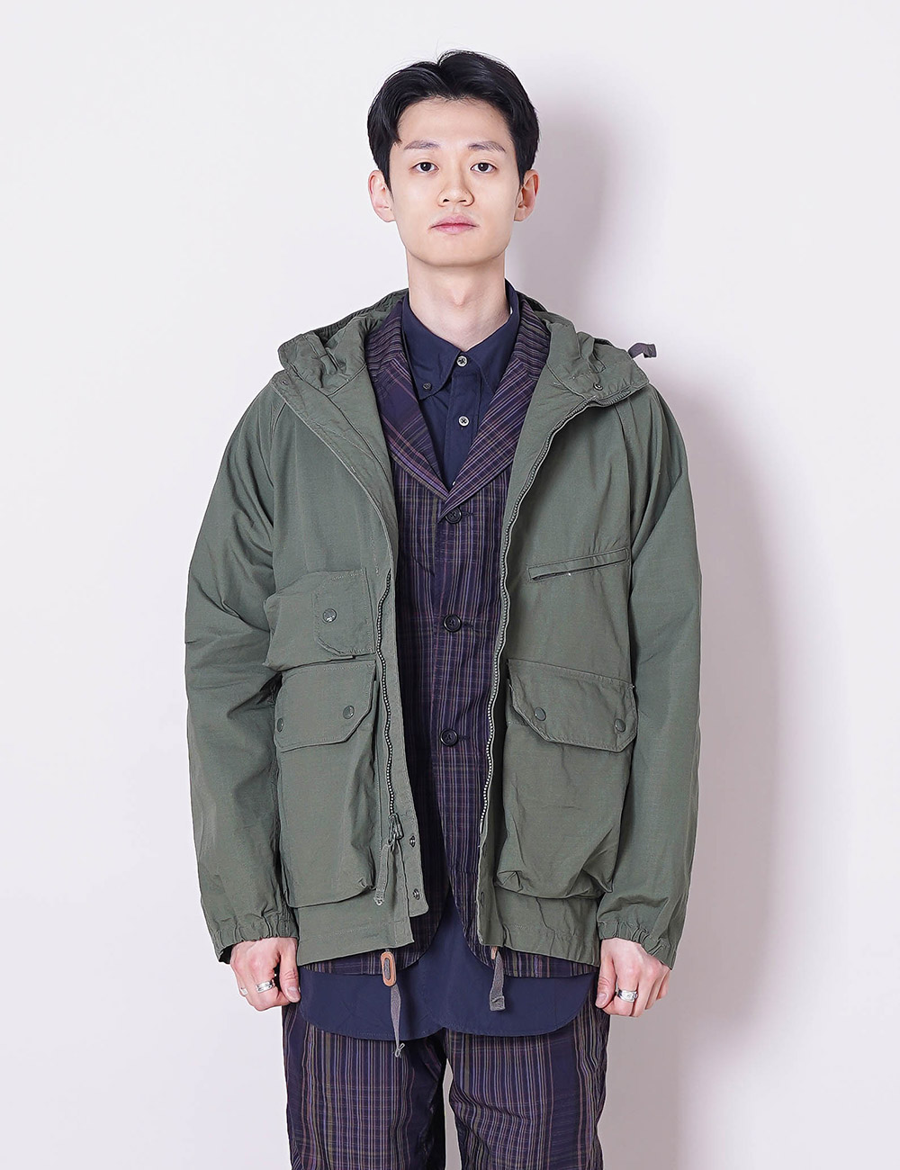 Engineered Garments : ATLANTIC PARKA (OLIVE COTTON RIPSTOP)