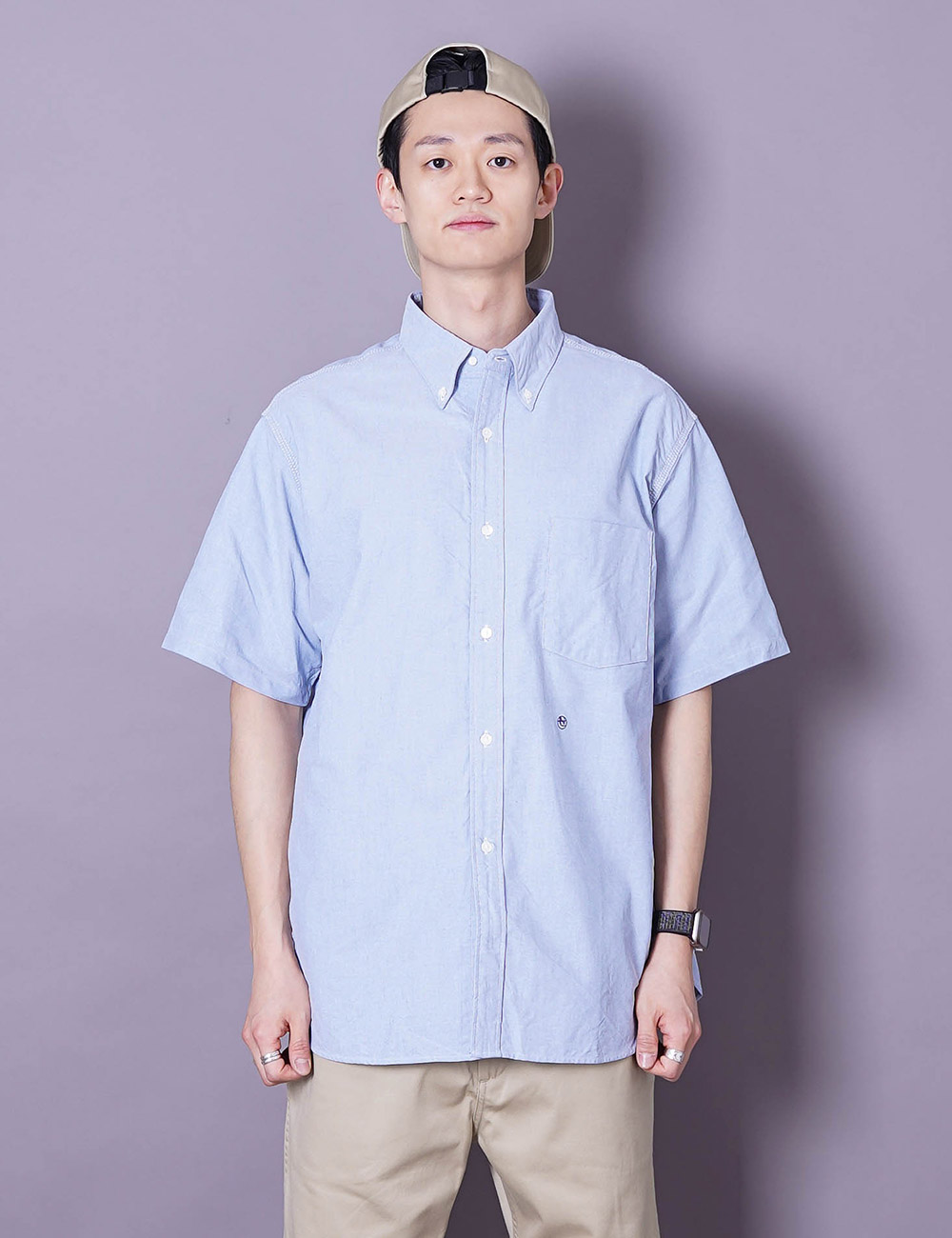 nanamica : BUTTON DOWN WIND H/S SHIRT (BLUE)