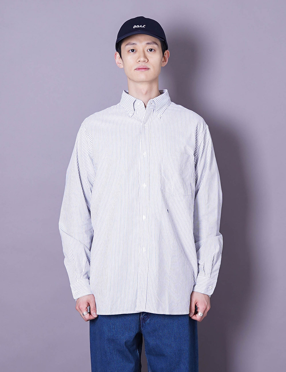 nanamica : BUTTON DOWN STRIPE WIND SHIRT (NAVY)