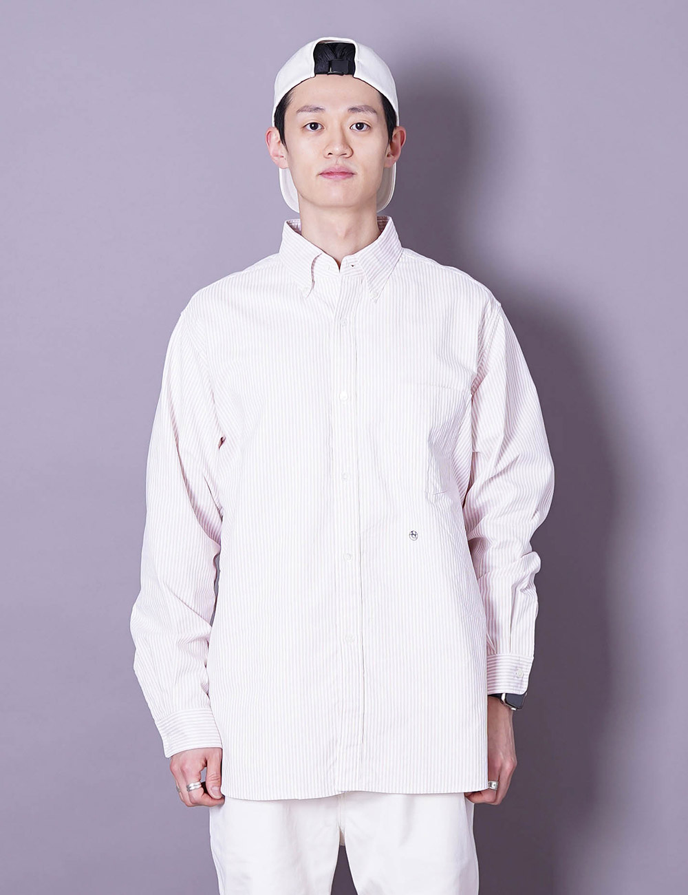 nanamica : BUTTON DOWN STRIPE WIND SHIRT (PINK)