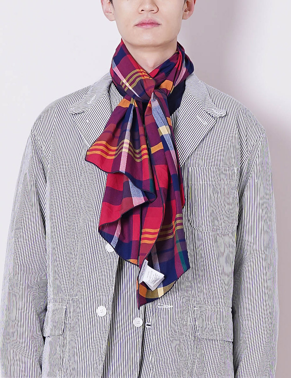 Engineered Garments : LONG SCARF (RED/NAVY COTTON BIG MADRAS)