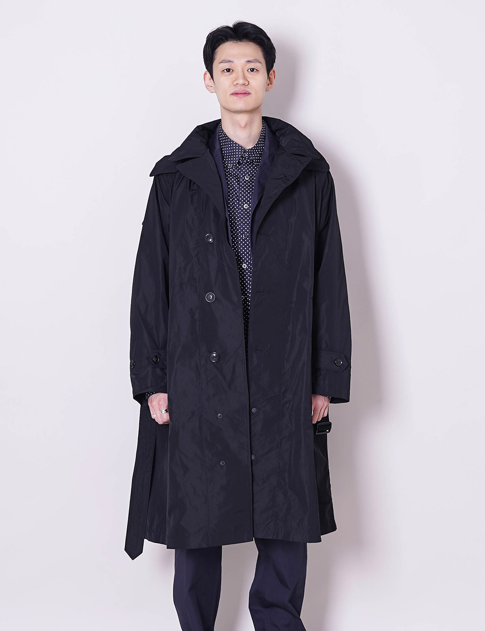 Engineered Garments : DRIZZLER COAT (BLACK MEMORY POLYESTER)