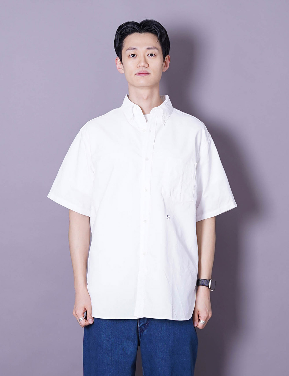 nanamica : BUTTON DOWN WIND H/S SHIRT (WHITE)