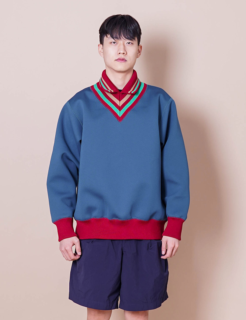 kolor : 21SCM-T01201 KNITTEED COLLAR PULLOVER (BLUE GREEN)