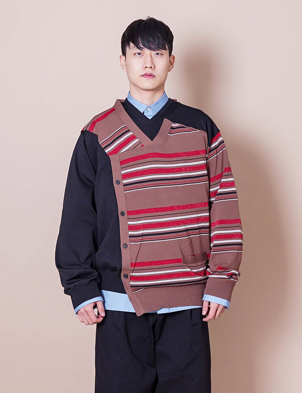kolor :21SCM-N01304 C/P BORDER L/S KNIT (LIGHT BROWN)