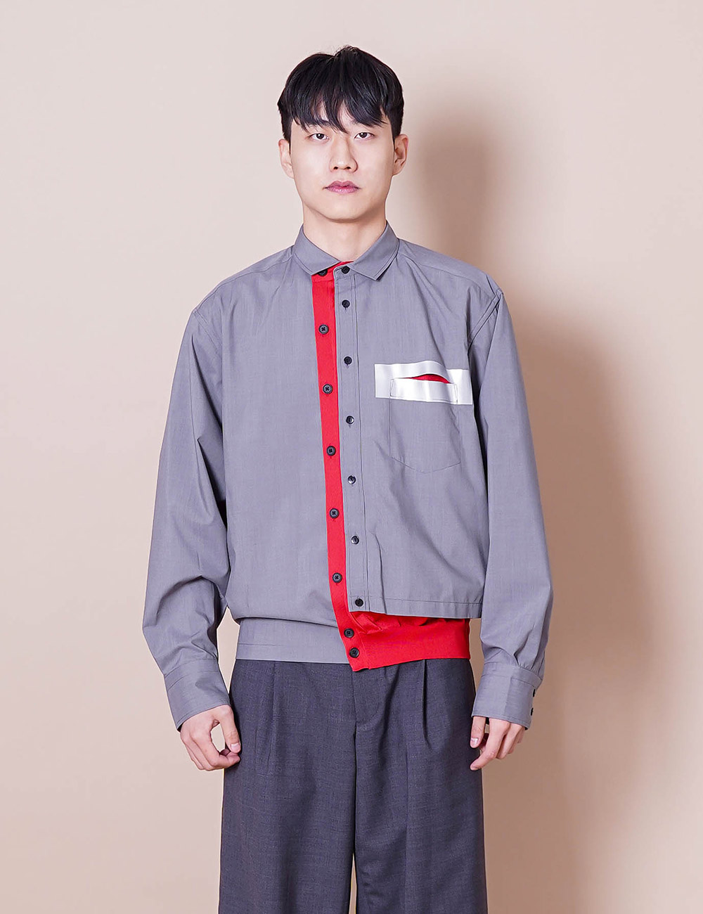 kolor : 21SCM-B01105 WOOLLY TAFFETA SHIRT (LIGHT GRAY)