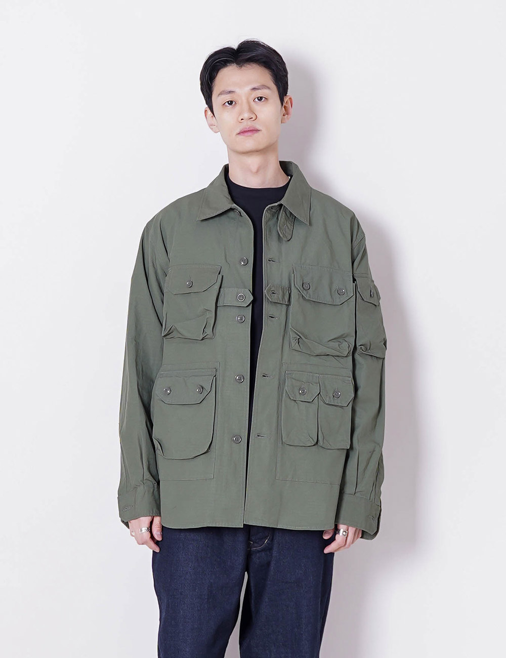 Engineered Garments : EXPLORER SHIRT JACKET (OLIVE COTTON RIPSTOP)