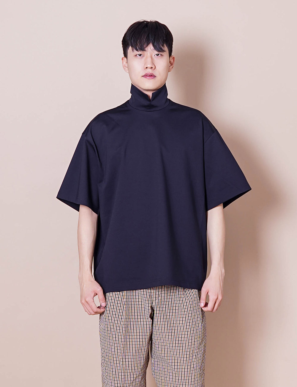 kolor : 21SCM-T03202 COLLAR L/S T-SHIRT (NAVY)
