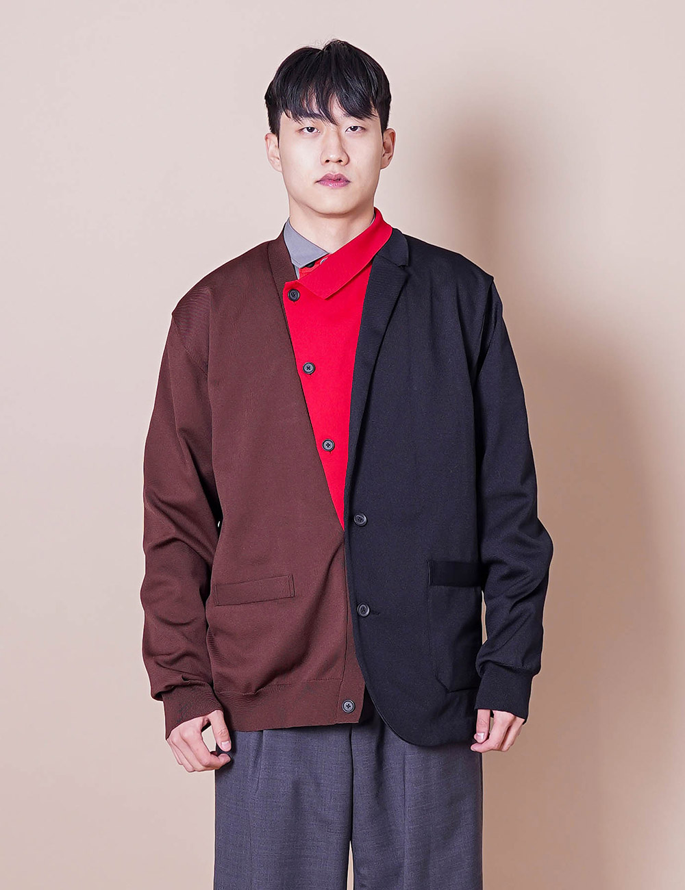 kolor : 21SCM-N08301 DOCKING CARDIGAN (BROWN)
